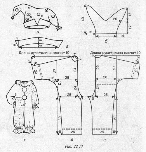 Выкройка костюм петрушки своими руками выкройка